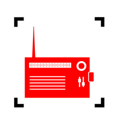 radio sign red icon inside vector image