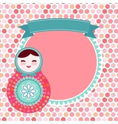 Russian dolls matryoshka on white background pink vector image vector image