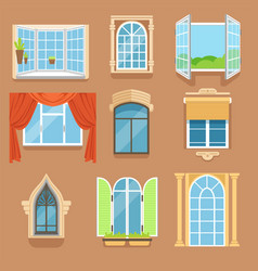 vintage and modern windows set in different styles vector image vector image
