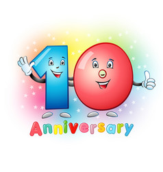 10 anniversary funny digits vector image