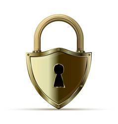3d realistic closed padlock vector