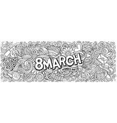 8 march hand drawn cartoon doodles vector