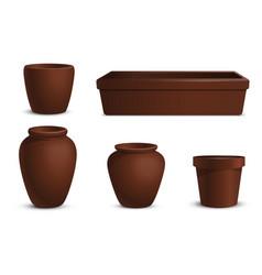 a set flowerpots different shapes vector image