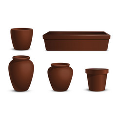 a set of flowerpots of different shapes vector image