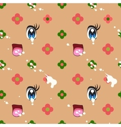 Abstract seamless pattern of cute kawaii style vector