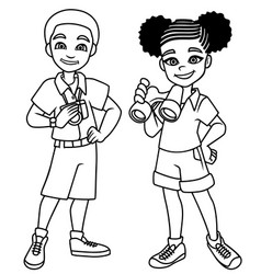 adventure kids black line art vector image