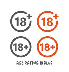 Age rating 18 plus movie icon under 18 years sign vector