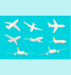 airplane set different angles sight on a blue vector image