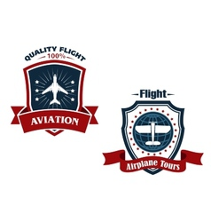 Airplane tours and aviation icons vector image