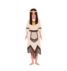 American indian woman in national ethnic clothes vector