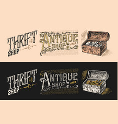 antique shop labels or badges book and camera vector image