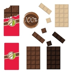 Bar of chocolate set Sealed and open wrap vector