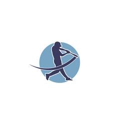 Baseball player logo design vector