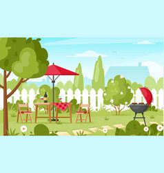 bbq party in backyard vector image