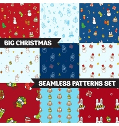 Big christmas seamless patterns set vector