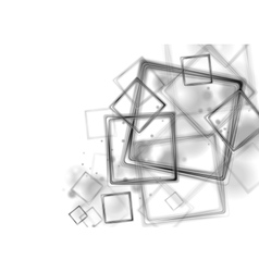 Black glossy squares on white background vector image