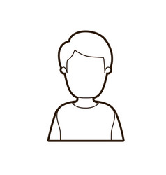 Black thick contour caricature faceless half body vector