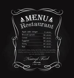 blackboard restaurant menu hand drawn frame vector image