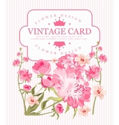Border of flowers peony in vintage style vector image