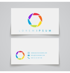 Business card template Camera shutter conceptual vector image