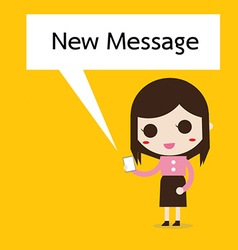 Business woman reading a text message vector