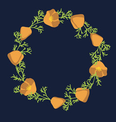 California poppy wreath vector