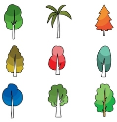Cartoon tree set on doodles vector