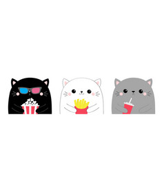 Cat set cute cartoon funny character popcorn vector