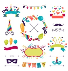 Celebration carnival set icons decorations and vector
