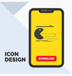 Character computer game gaming pacman glyph icon vector