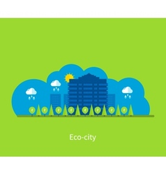 City landscape Environmentally friendly house vector