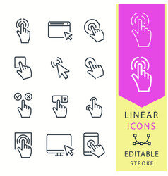 Click - line icon set editable stroke vector