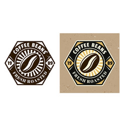 coffee bean emblem badge label or logo vector image