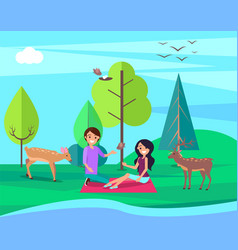 Couple having picnic on nature at bank of river vector