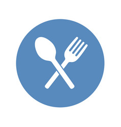 Crossed fork and spoon icon placed in a blue vector