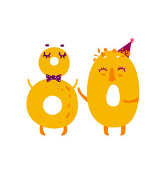 cute animallike character number eighty 80 vector image