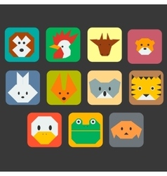 Cute animals faces simple icon set vector