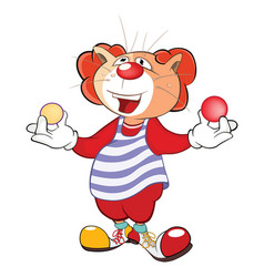 Cute cat clown juggler cartoon vector