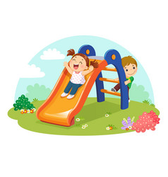 Cute kids having fun on slide in playground vector