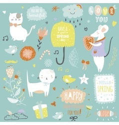 Cute print with spring ans summer vector image