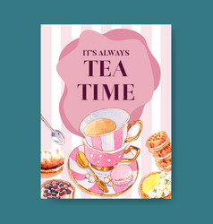 Dessert poster design with tea time biscuit lemon vector