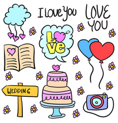 doodle of wedding object colorful style vector image