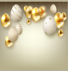 easter beige composition with eggs on pendants in vector image