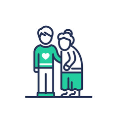 Elderly people help - modern line icon vector