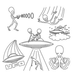Extraterrestrial aliens on white background vector