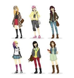 Fashionable big city girl style vector image