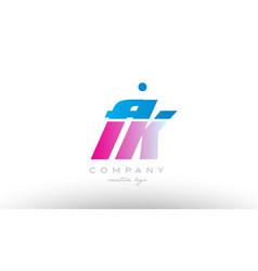fk f k alphabet letter combination pink blue bold vector image