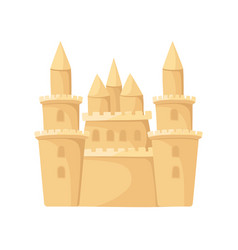 Flat icon of huge sand castle with towers vector