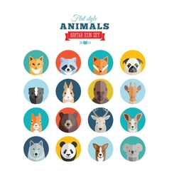 Flat Style Animals Avatar Icon Set vector