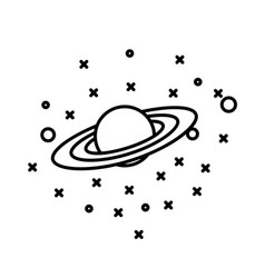 flat style planet saturn in front stars vector image